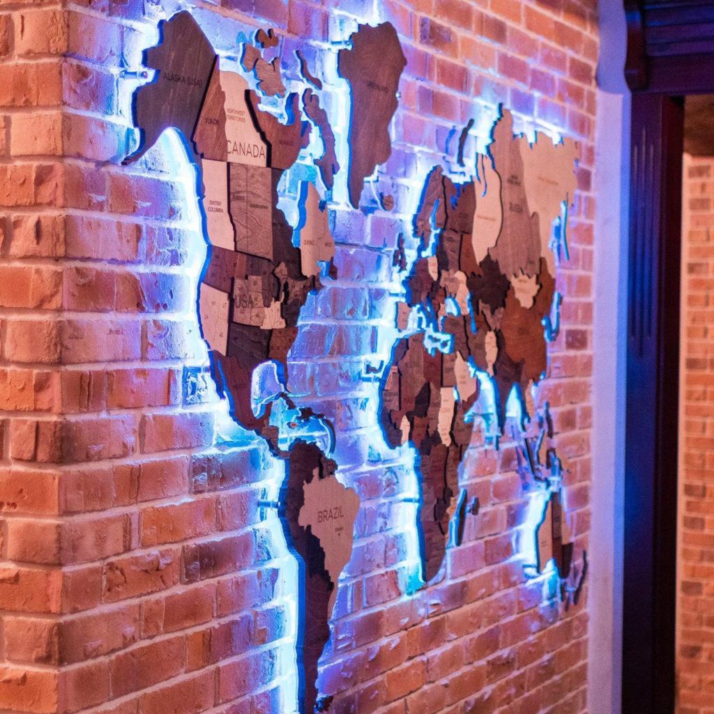 3d wooden map LED puzzle