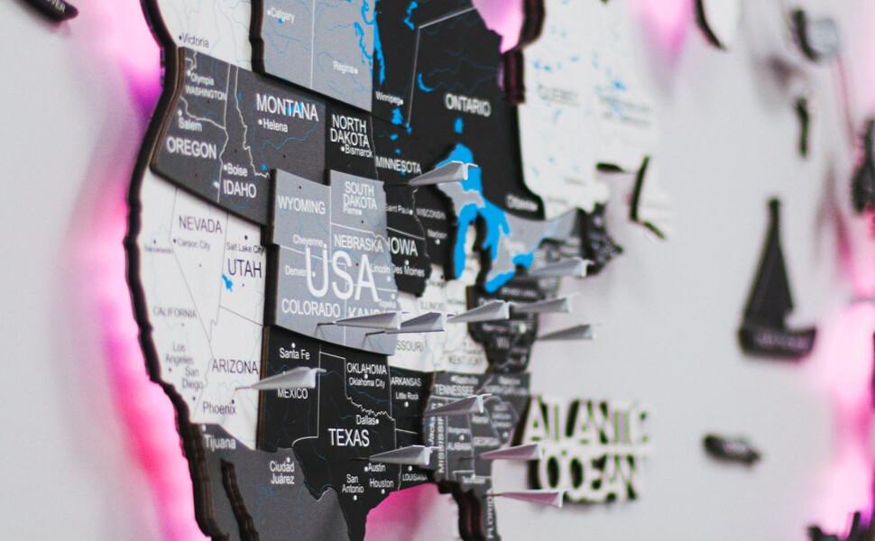 3D Wooden World Map Wall Art