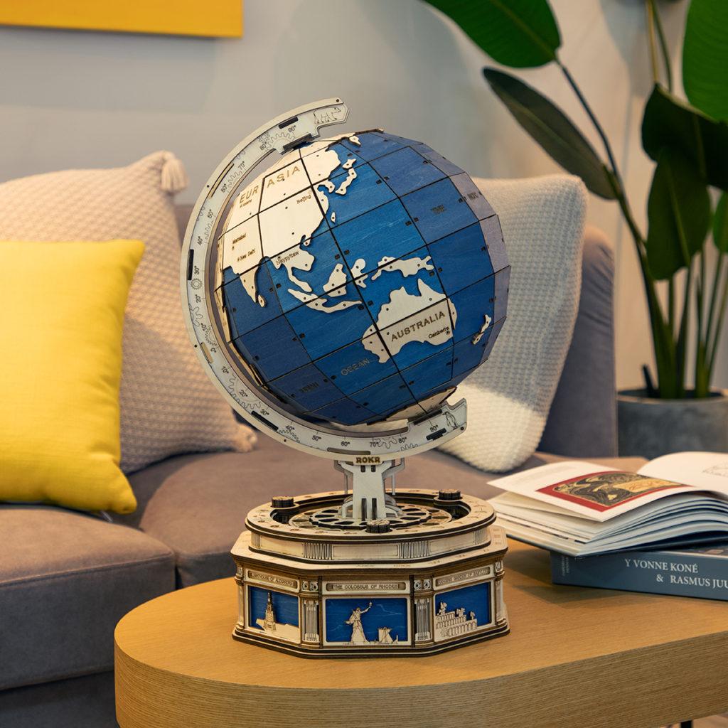 ROKR Globe Holz 3D Modell Puzzle
