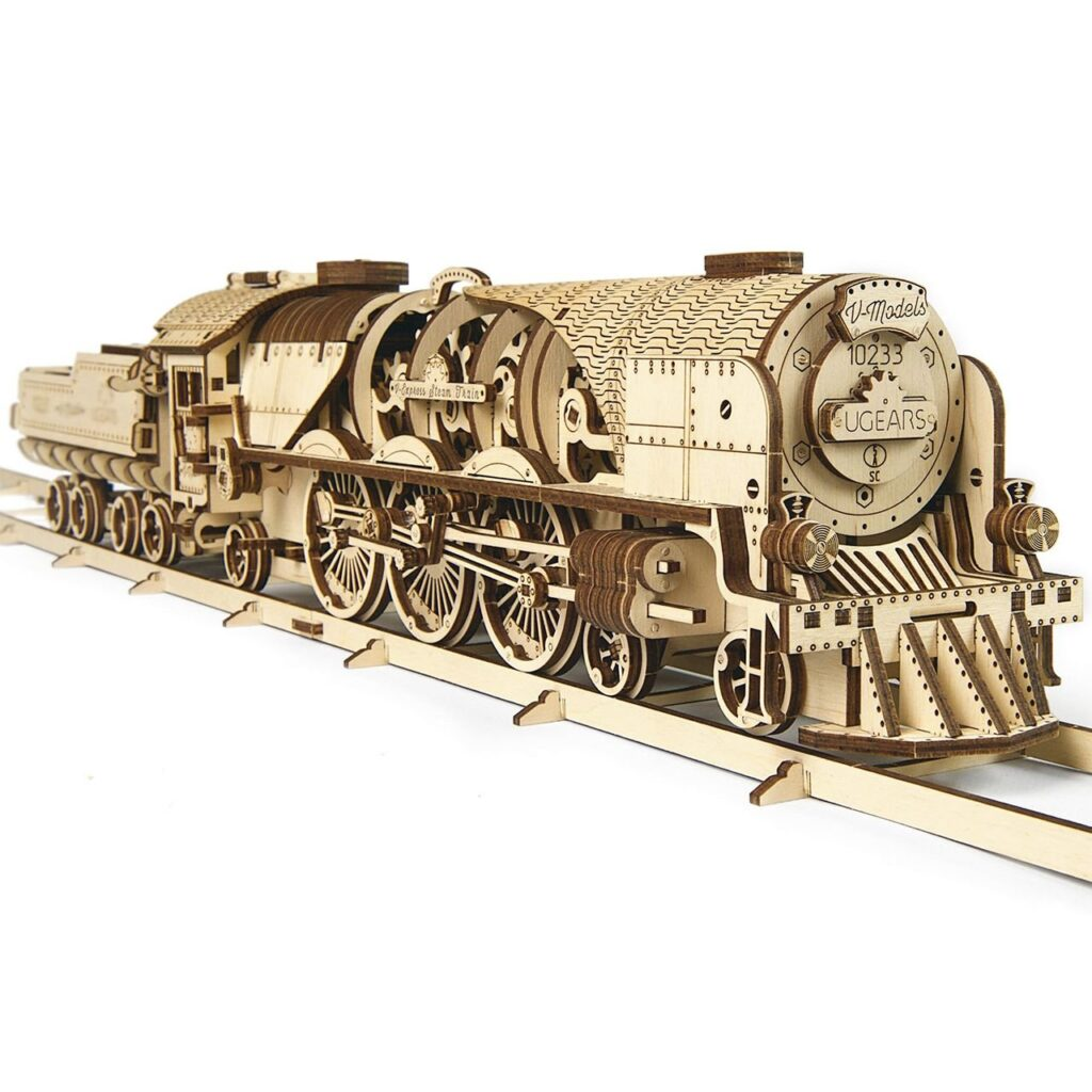 V-Express Steam Train with Tender Wooden 3D Puzzle by Ugears Assembly