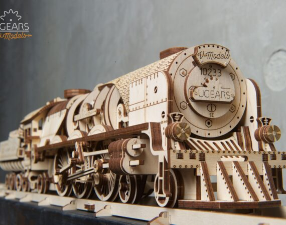 V-Express Steam Train with Tender Wooden 3D Puzzle by Ugears Full Assembly