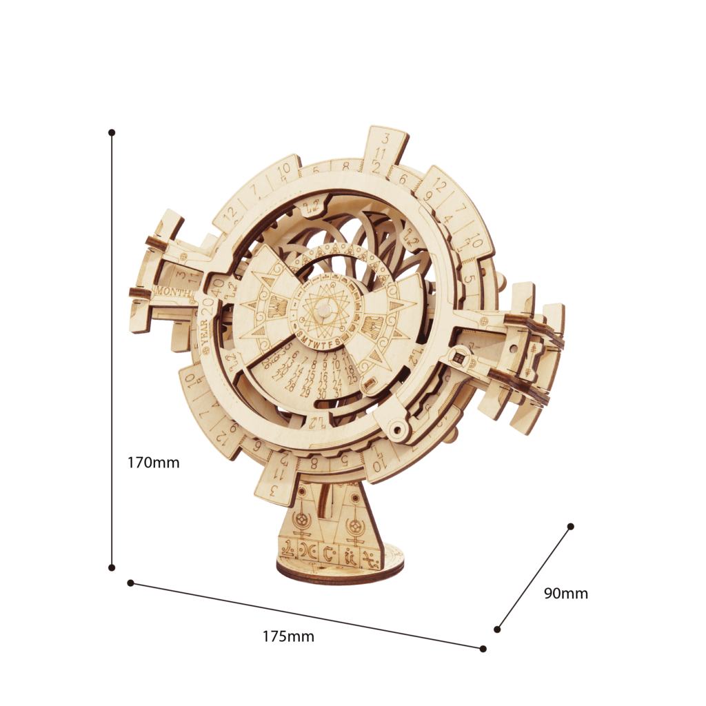 Perpetual Calendar Wooden 3D puzzle Model by ROKR Size