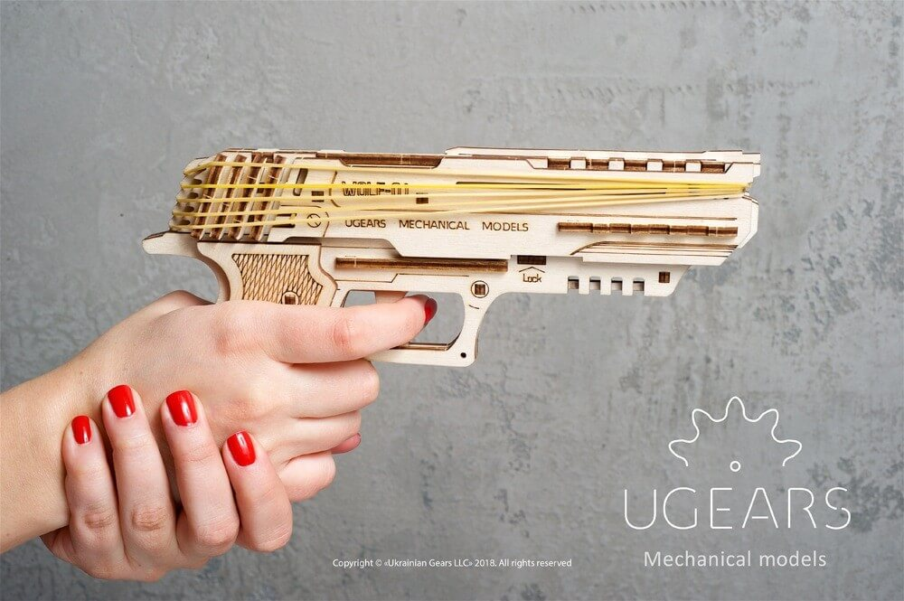 handgun puzzle by ugears assembly