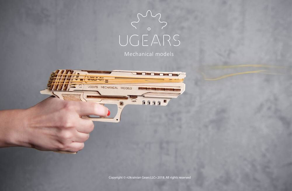 Ugears Handgun Mechanical Model Puzzle solution