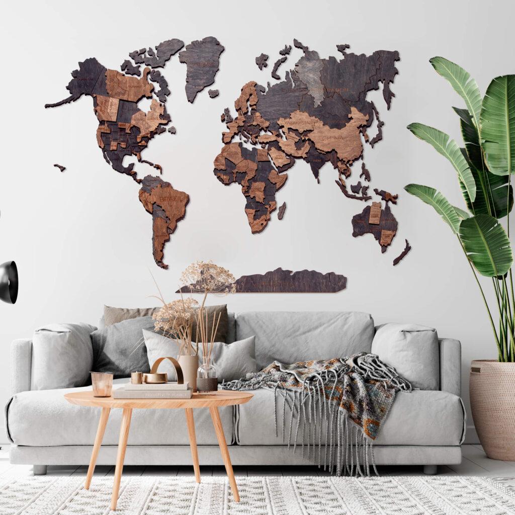 3D Wooden World Map Wall Decor by GreenBorsch