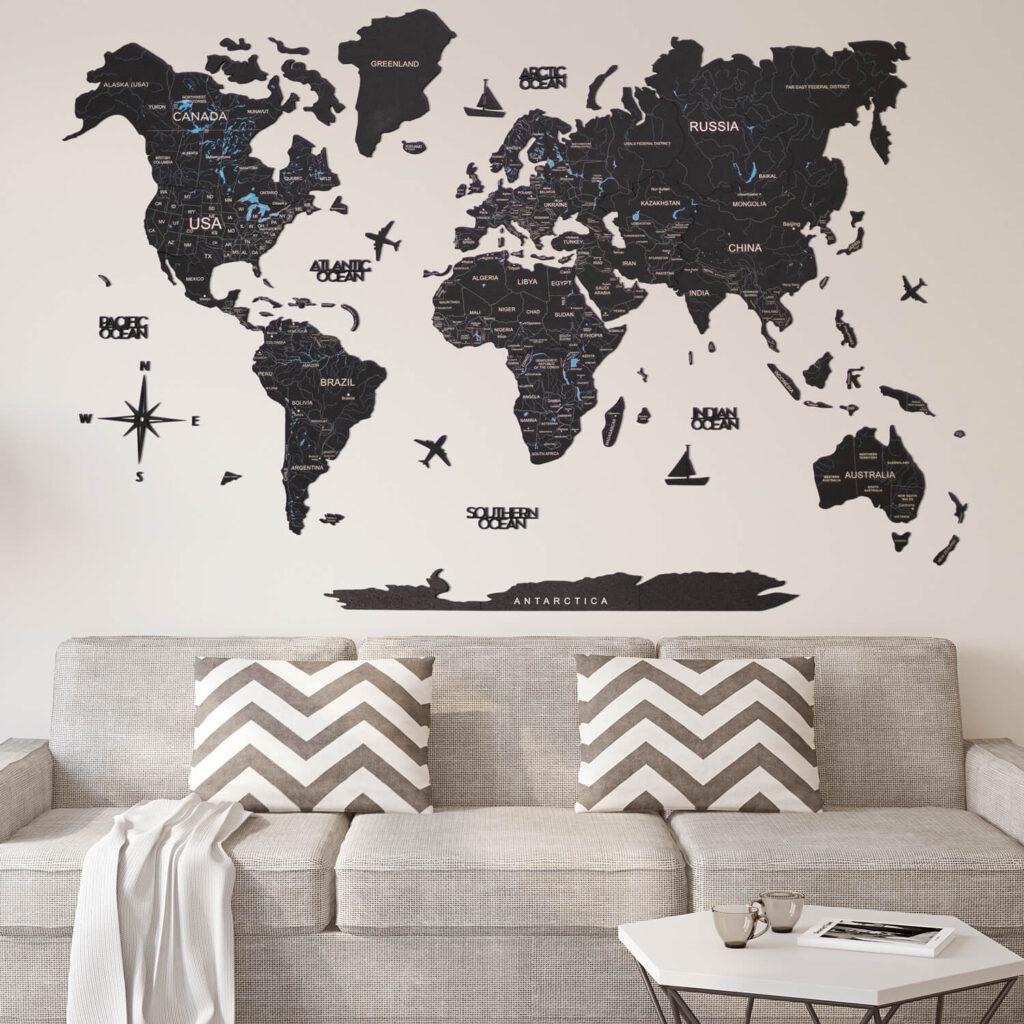 Wood World Map Puzzle black