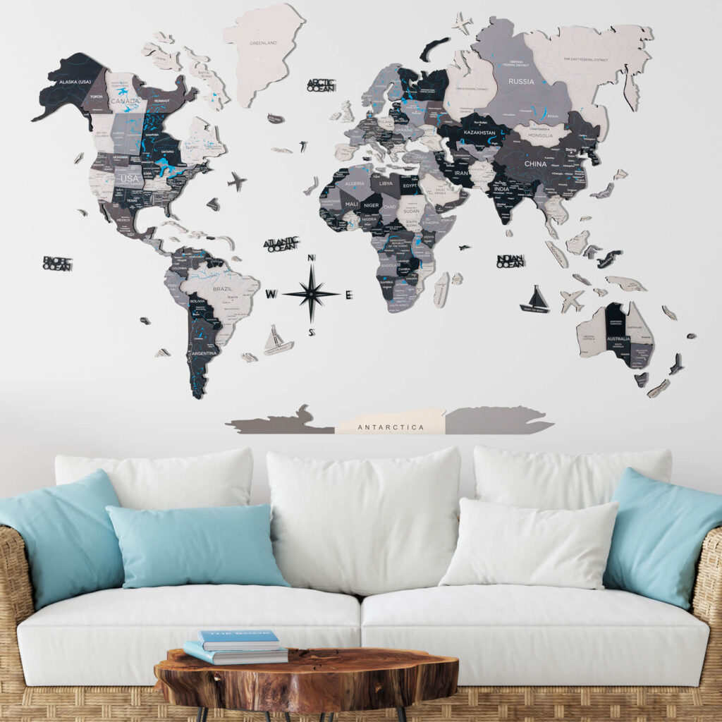 Wood World Map Puzzle grey