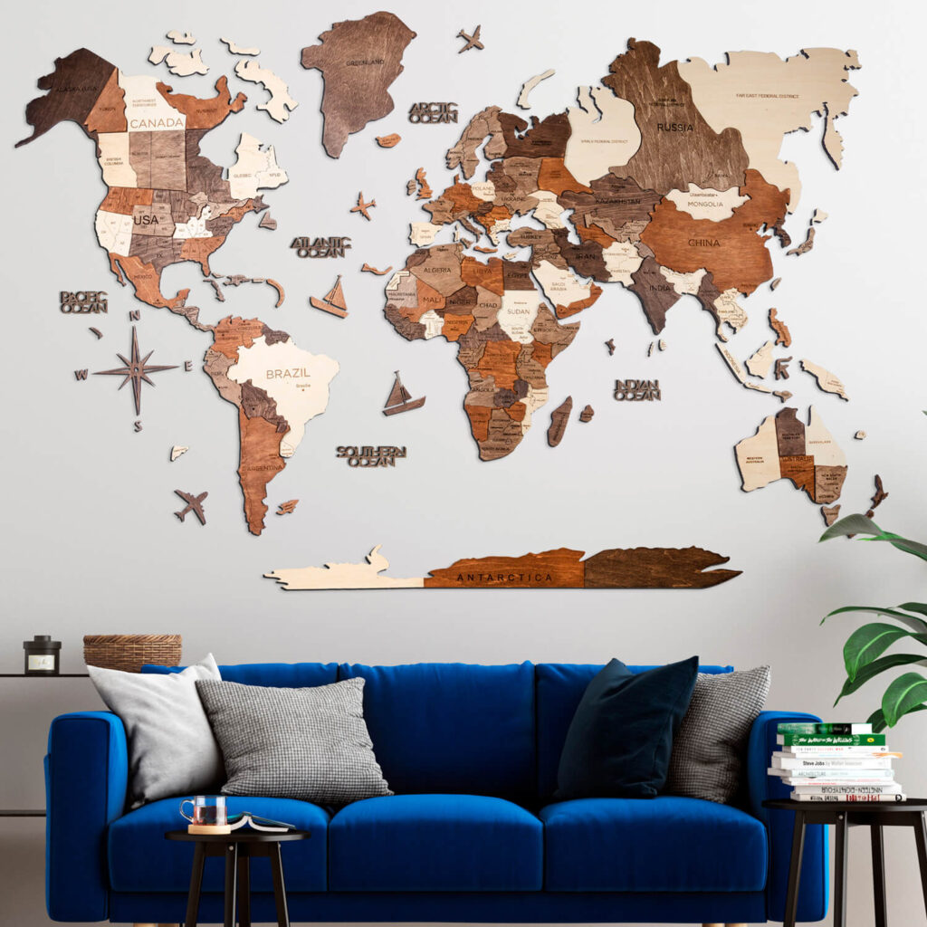 Wood World Map Puzzle 3D