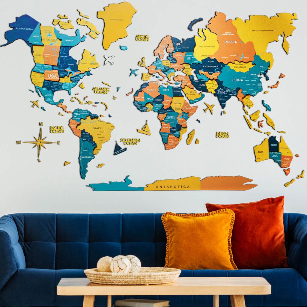 Wood World Map Puzzle Wall Decor Yellow