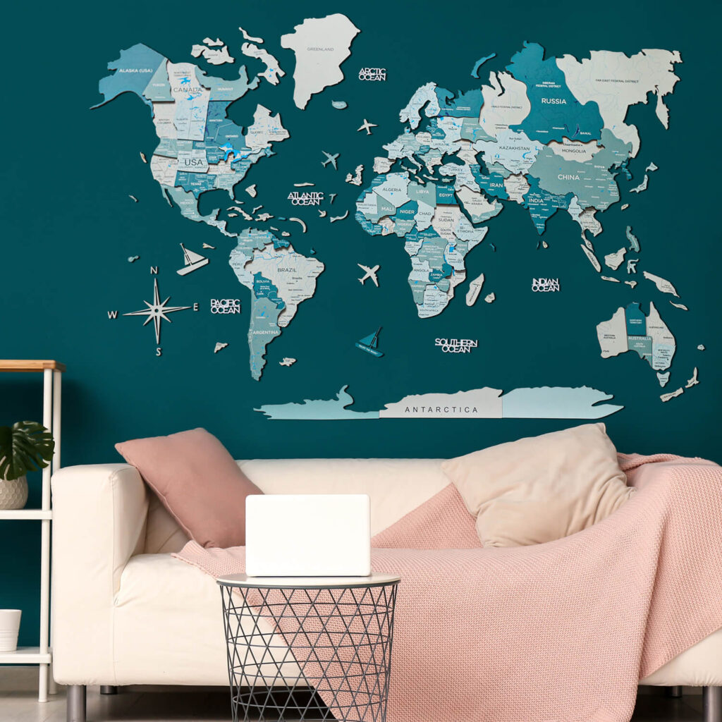 Wood World Map Puzzle Wall Decor Green