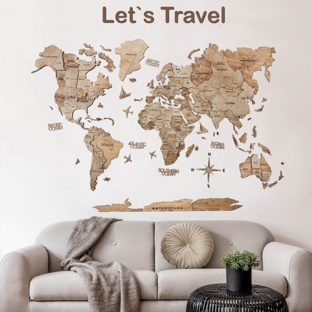 Wood World Map Puzzle Wall Decor 1 layer