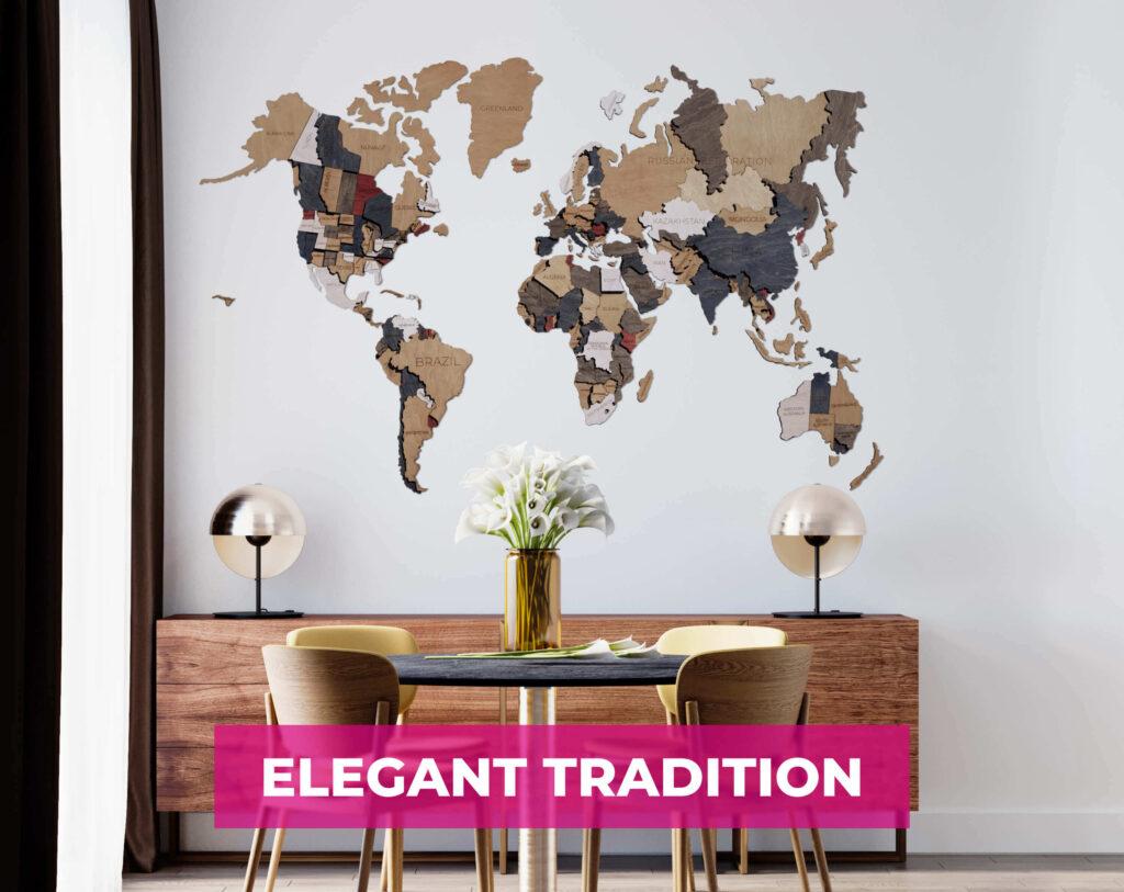 3D Wooden World Map Wall Decor