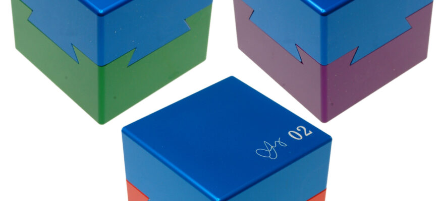 Wil Strijbos Dovetail Cubes 1, 2, 3 Metal puzzles
