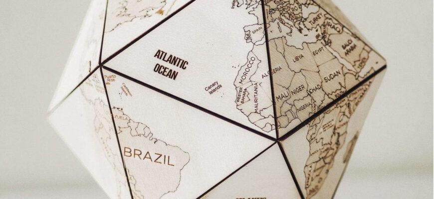 WORLD MAP wood GLOBE DESK DECOR