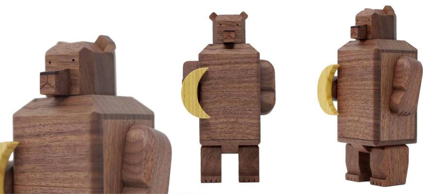 Karakuri Moon and Bear Puzzle Box How it Looks