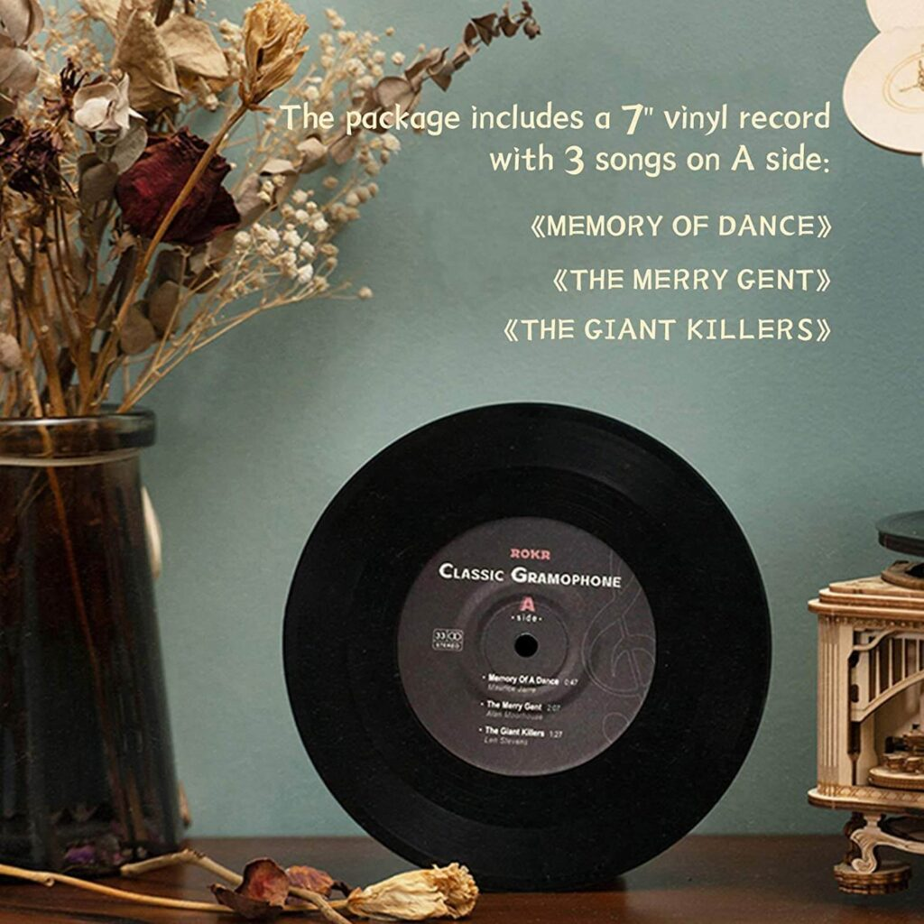 ROKR Gramophone DIY Wooden 3D Puzzle vinyl included