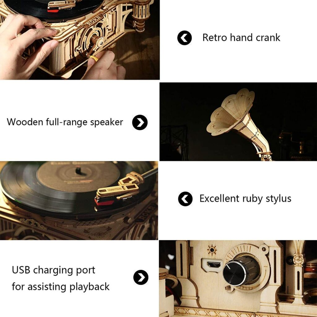 ROKR Gramophone DIY Wooden 3D Puzzles Features