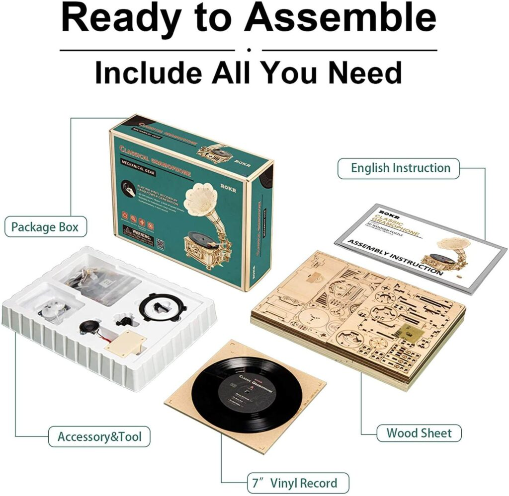 ROKR Gramophone DIY Wooden 3D Puzzles What in the box included