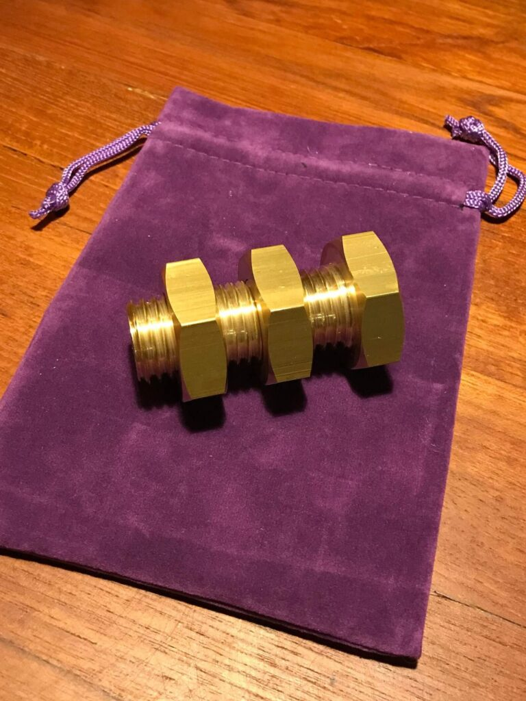 The Monkey's Nuts Puzzle by Two Brass Monkeys side view